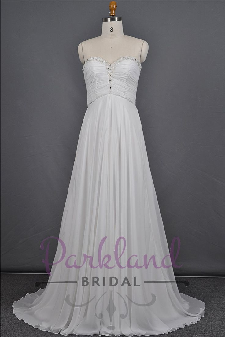 http://www.parklandbridal.co.nz/Store/tabid/4393/ProdID/33796/CatID/358/Parkland_Bridal_Elise.aspx  A beautiful simple sweetheart neckline gown with a beautiful beaded edge. Stunning ruched bodice with a simple chiffon A-line skirt. Great value!