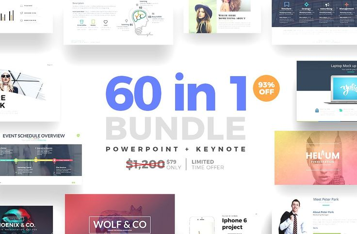 Keynote - LIMITED TIME OFFER GET THIS DEAL BEFORE IT'S GONE! and SAVE 93% OFF  60 in 1 Bundle includes our top seller presentations. Take advantage of this bundle. $1,200 worth of Top-Notch presentations templates packed into this exclusive item. This is a very Limited Time Offer and ending soon! ★★IF YOU BUY TODAY YOU WILL GET 3,000+ Vector Icons as BONUS Limited Time Offer  This Bundle includes PowerPoint and Keynote in total there are 60 Presentations Templates.
