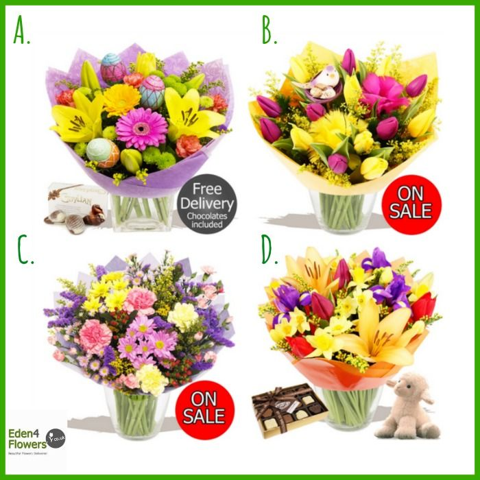 Which one of our #Easter bouquets is your favourite?  A: Happy Easter B: Spring Tulip Wrap C: Springtime Hand- tied D: Spring Breeze  http://www.eden4flowers.co.uk/content/content_prod_list.numo?idarea=1&idareacat=3&idareacatsub=292  #flowers #Spring