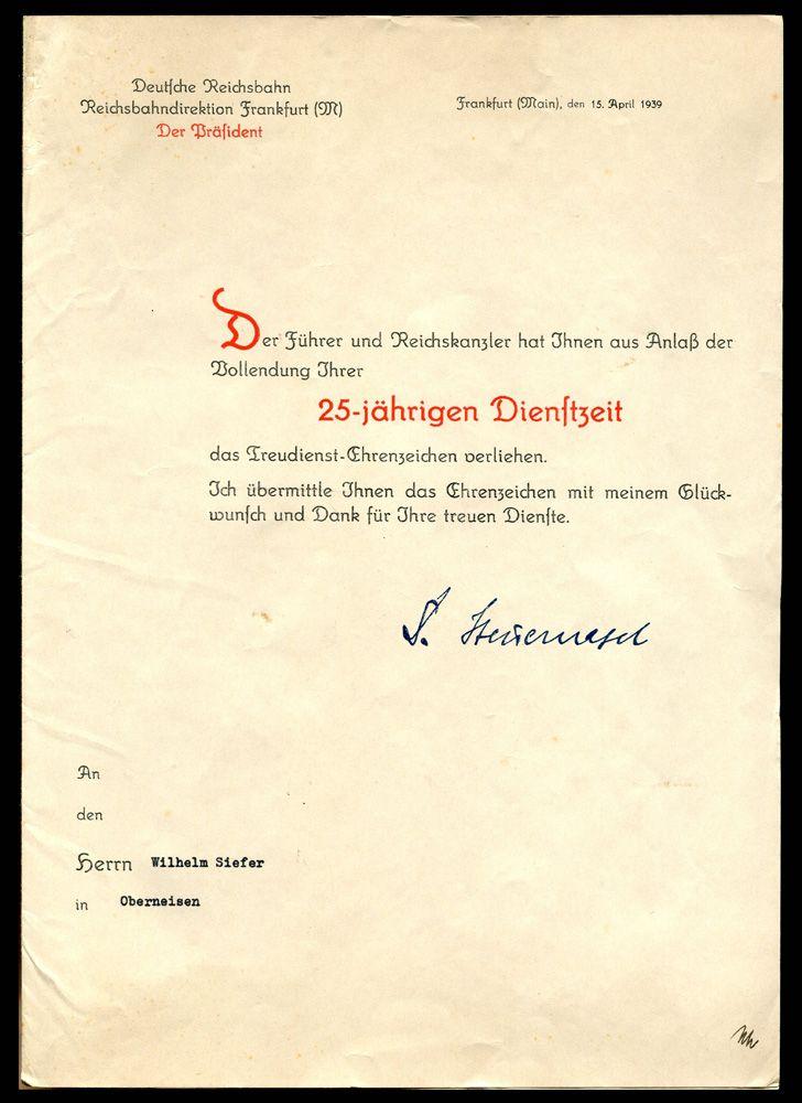 ГЕРМАНИЯ 1933-1945 ПОЗДРАВИТЕЛЬНЫЙ АДРЕС С 25-ЛЕТИЕМ ВЫСЛУГИ (М-3460) Цена: 70 у.е. (5040 руб.)