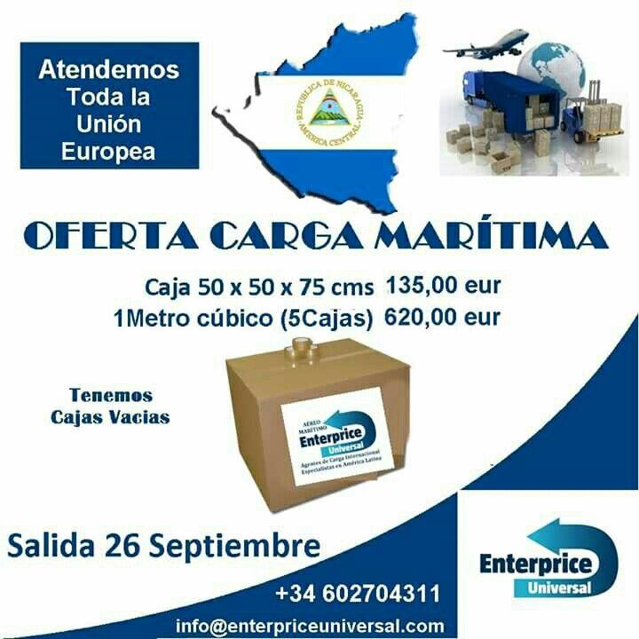 #Nicaragua transporte marítimo desde 1 caja 50 kilos hasta 1 contenedor.  Servicio puerta a puerta. Info@enterpriceuniversal.com +34 602704311