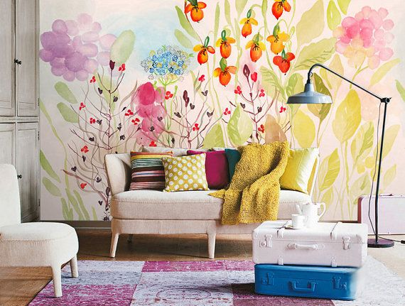"39"" x 39"" Watercolor Garden Fresh Spring Flower & Leaves Wallpaper Wall Decal Art Bedroom Wall Paper Pink Lilac Floral Green Yellow Ivory"