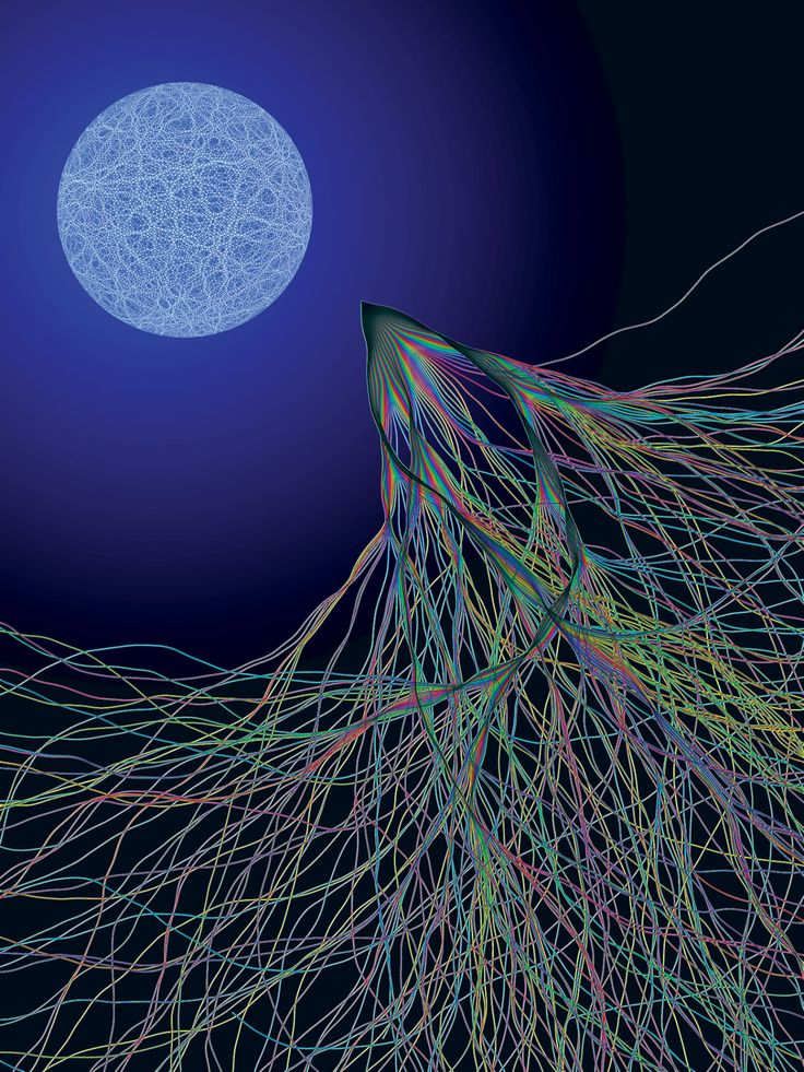The physicist Eric J. Heller's Transport XIII (2003), inspired by electron flow experiments conducted at Harvard. According to Heller, the image 'shows two kinds of chaos: a random quantum wave on the surface of a sphere, and chaotic classical electron paths in a semiconductor launched over a range of angles from a particular point. Even though one is quantum mechanical and the other classical, they are related: the chaotic classical paths cause random quantum waves to appear when the…