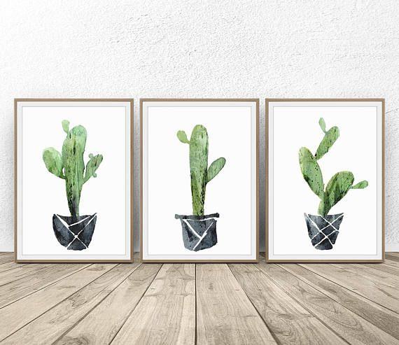 Cactus Poster Triptych Wall Art Botanical Print Three Piece Wall Art Cactus Watercolor Set Of 3 Prints Ca Cactus Wall Art Wall Art Sets Triptych Wall Art
