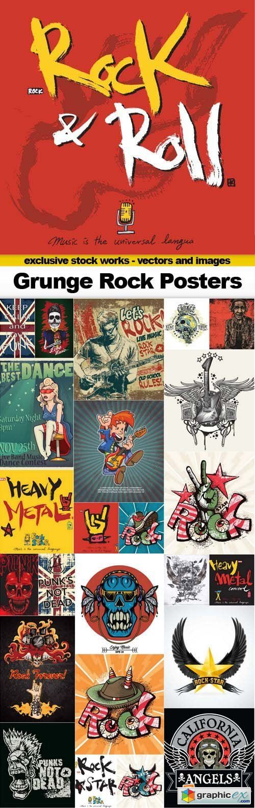 T shirt design 7 25xeps - Grunge Rock Posters 25x Eps