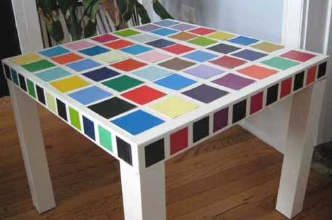 32 Paint Chip Projects. (I have an IKEA table just like this that's screaming for some personality!!!)