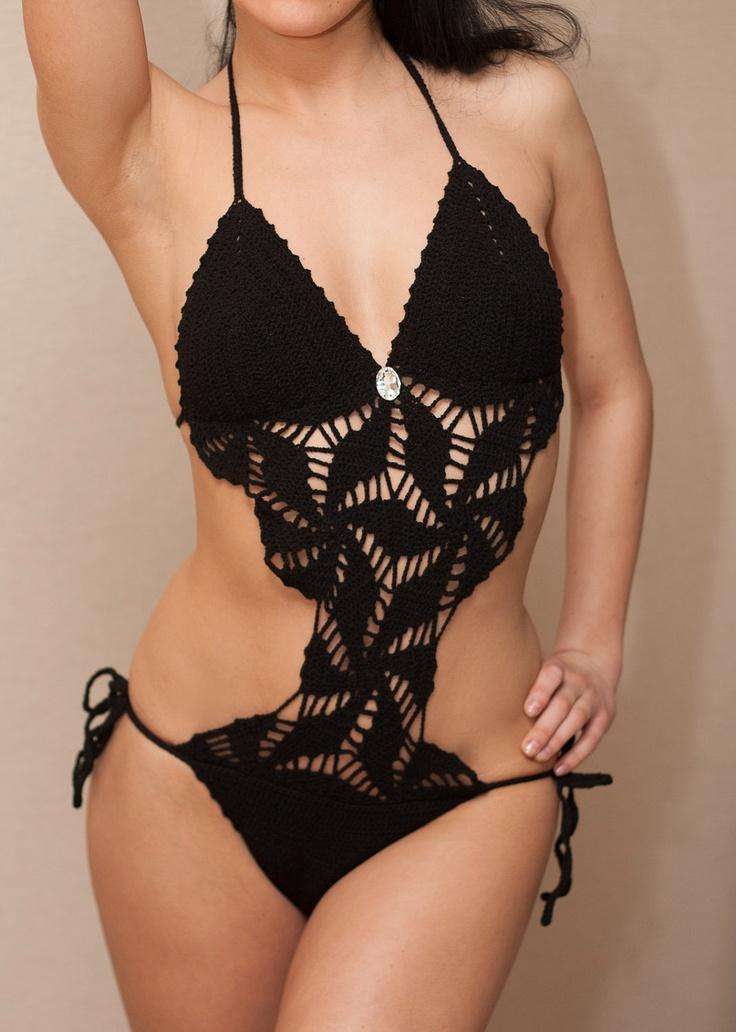 Crochet Bikini Black Monokini Swimsuit Bathing Suit