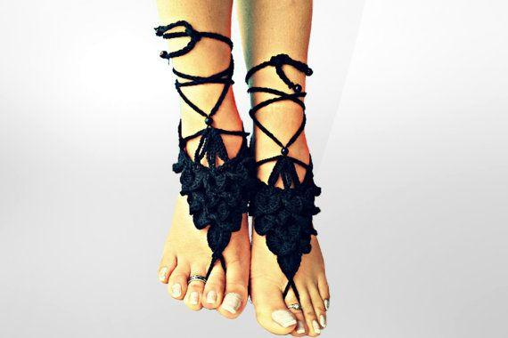 Crochet Barefoot Sandals Foot jewelry, Wedding, Crochet Sandals Lace shoes-Beach wedding sandals, Crocodile Sandals