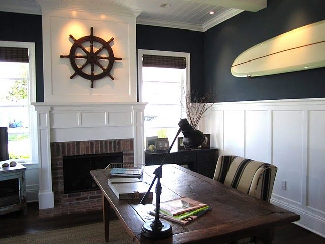 My ideal home office.   I have all the furniture and accessories EXCEPT a good Hawaiian classic woody surfboard for the wall. Next project maybe?