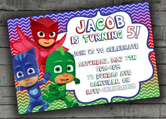 PJ Masks Party Invitations Kids Birthday by ...