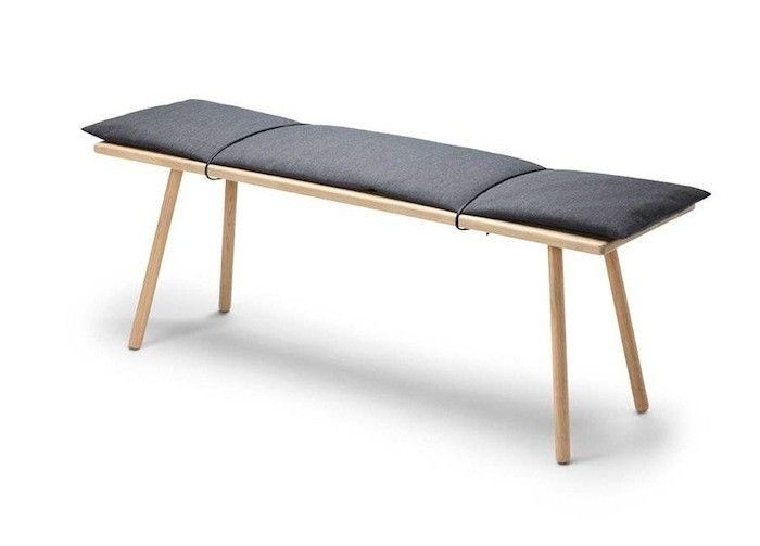 Georg Bench by Skagerak, Remodelista wool cushion with leather straps?