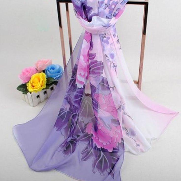 Spring Fashion Lady's Rich Flower Georgette Chiffon Beach Scarf Purple