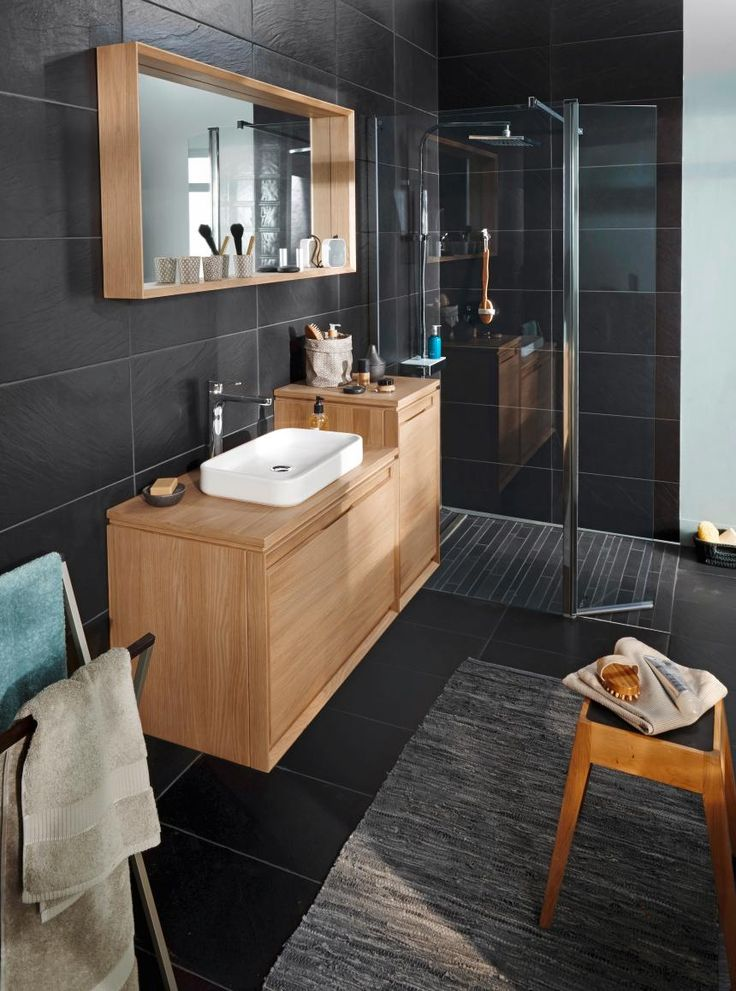 deco salle de bain bois et noir. Black Bedroom Furniture Sets. Home Design Ideas