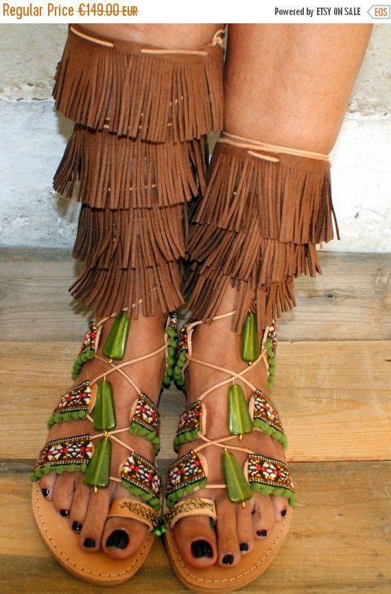 30 % ventes Mexique / sandales gladiateur / sandales boho / sandales en  cuir fait à