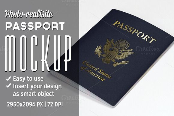 passport mockup by illusiongraphic on creative market mockups pinterest passport. Black Bedroom Furniture Sets. Home Design Ideas