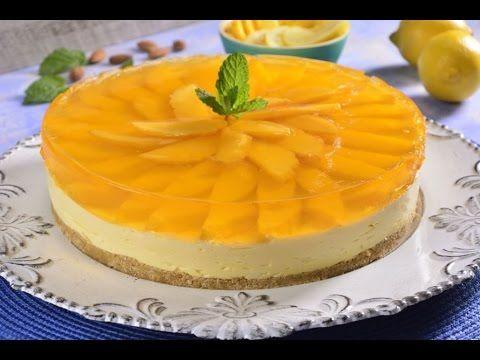 Mousse de Limón con Gelatina de Mango SIN HORNO - YouTube