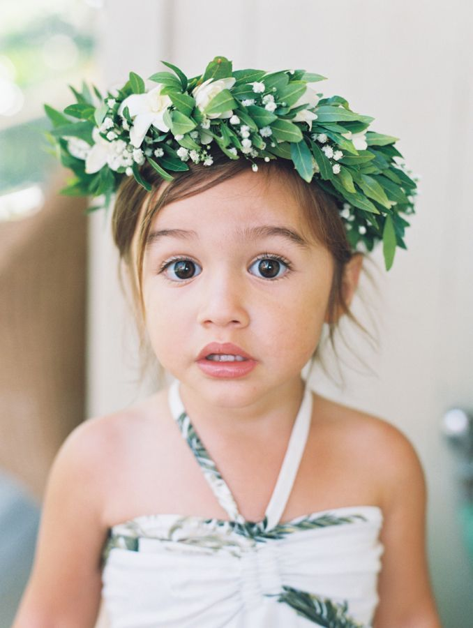 Baby's breath and greenery flower crown: http://www.stylemepretty.com/destination-weddings/hawaii-weddings/2016/11/22/yellow-olive-maui-wedding-by-the-sea/ Photography: Wendy Laurel - http://www.wendylaurel.com/ and Jeffery Oltman - http://www.imagesbyjeffrey.com/