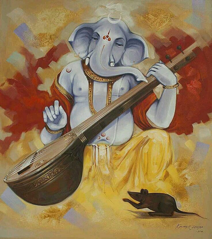 Ganesha painting - Anthropomorphism used to depict the gods was commonly done in…