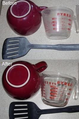 How to get hard water film off kitchen utensils and dish ware easily with Lemi Shine dishwasher detergent additive! {info on Stain Removal 101}
