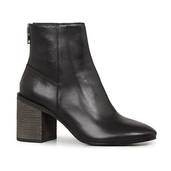 Women's Allsaints Idella Block Heel Bootie (20.425 RUB) ❤ liked on Polyvore featuring shoes, boots, ankle booties, black, black booties, black leather booties, black leather bootie, ankle boots and leather ankle booties
