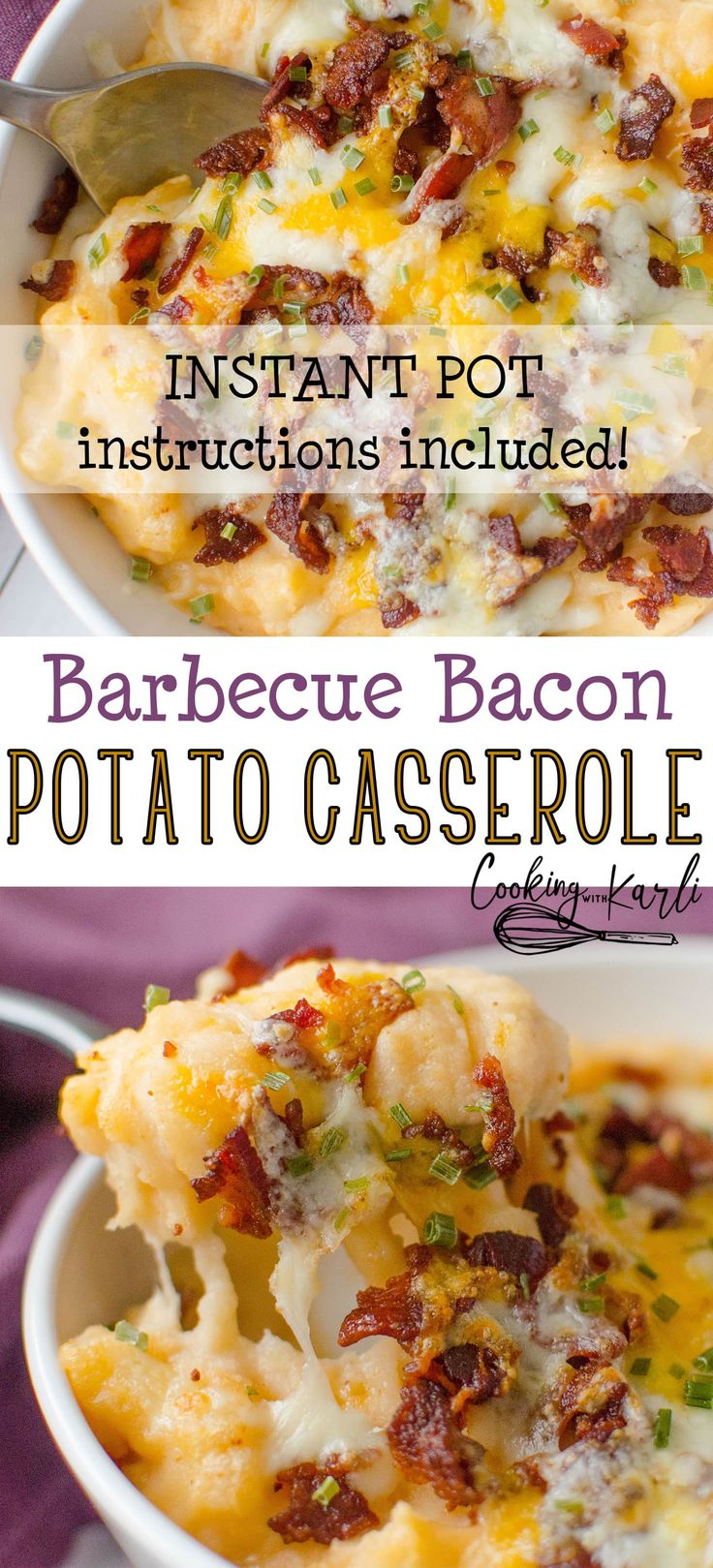 Barbecue Bacon Potato Casserole is a smokey twist on the classic twice baked potato. The creamy mashed potatoes are hit with a some barbecue sauce  to give the potatoes a whole new dimension. Bacon and cheese are broiled on the top until it reaches melty perfection. #instantpot #recipe #twicebakedpotatoes #potato #sidedish