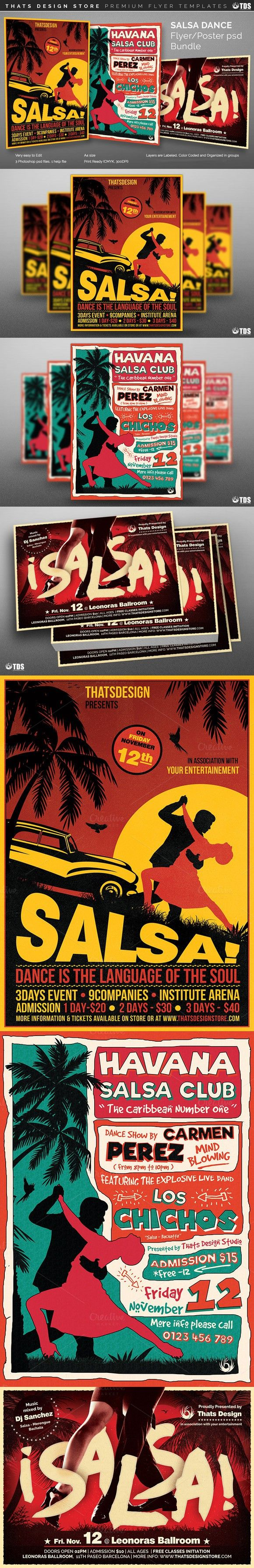 Poster design for coaching institute - Salsa Dance Flyer Bundle