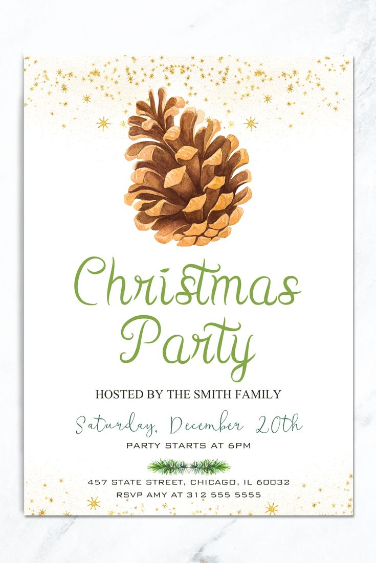image relating to Printable Christmas Invitations titled Rustic Xmas Occasion Invitation, Winter season Family vacation Invitation