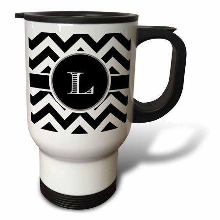 3dRose Black and white chevron monogram initial L, Travel Mug, 14oz, Stainless Steel