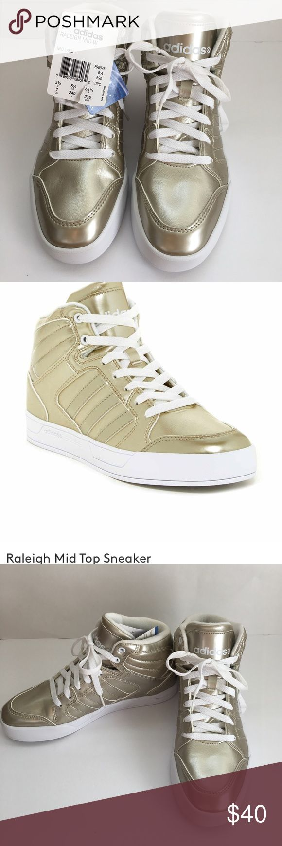 *Adidas* NWT Gold Sneakers 7 Raleigh Mid Top Sneakers from Adidas in US 7. Brand New Tags attached. Neo Label Ortholite Performance Insoles. Adidas Shoes Sneakers