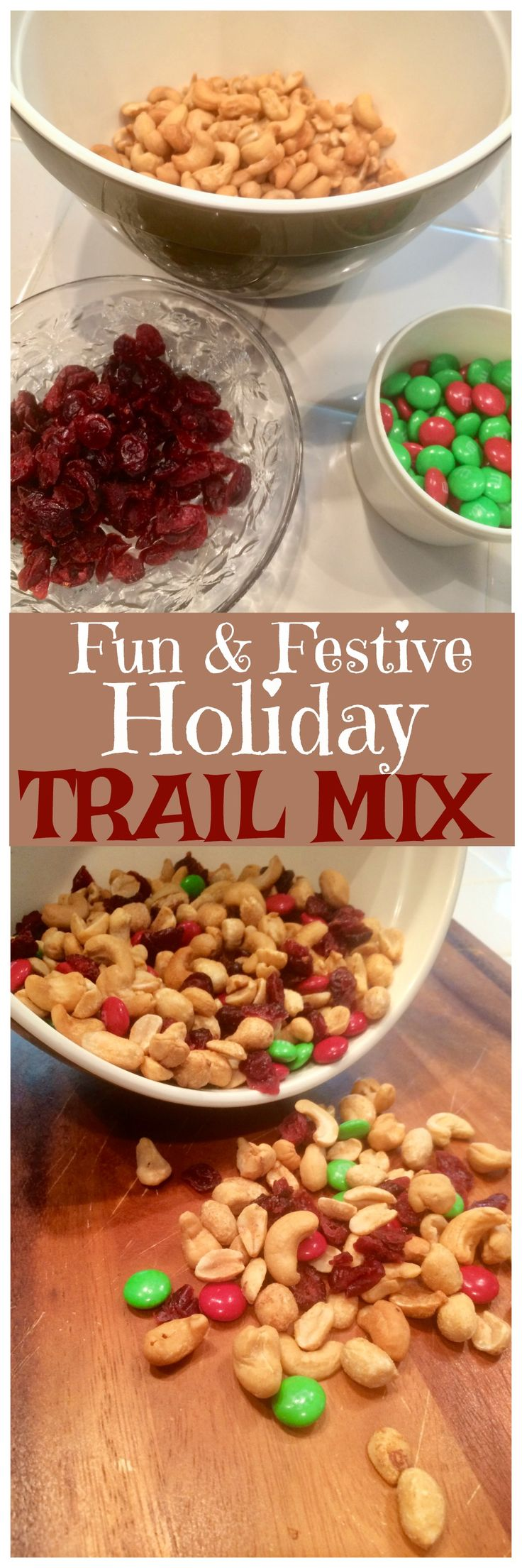 This fun and festive holiday trail mix makes a great inexpensive homemade holiday gift idea! via @OCRaquel #recipe via @OCRaquel