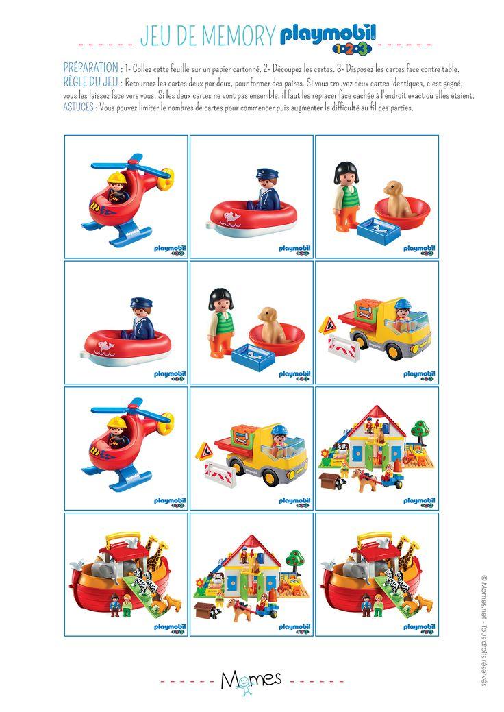 Imprimez un super jeu de Mémory Playmobil 123. Tous ses personnages préférés sont réunis par paire, les enfants vont adorer s'amuser à les retrouver !