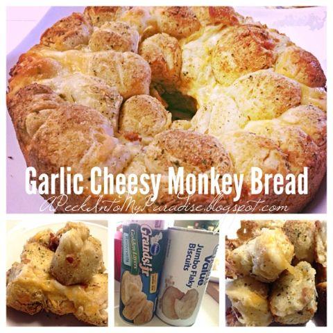A Peek Into My Paradise: Garlic Cheesy Monkey Bread #sidedish #recipe #food