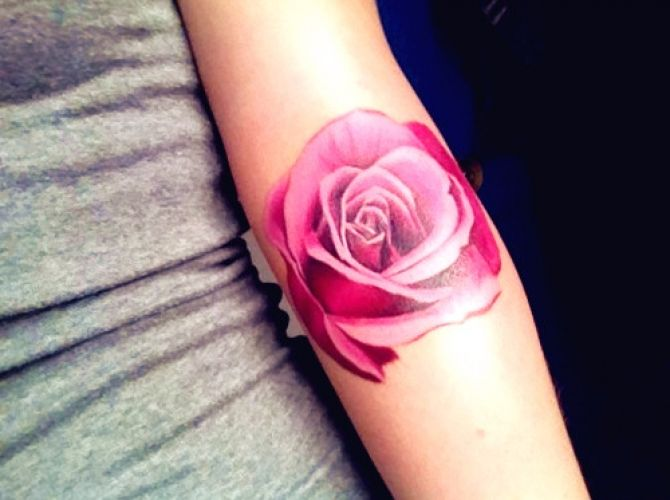 Pink Rose Tattoo Without Black Outline Love It | Ruth Tattoo Ideas.  I want yellow and hot pink roses like this :)