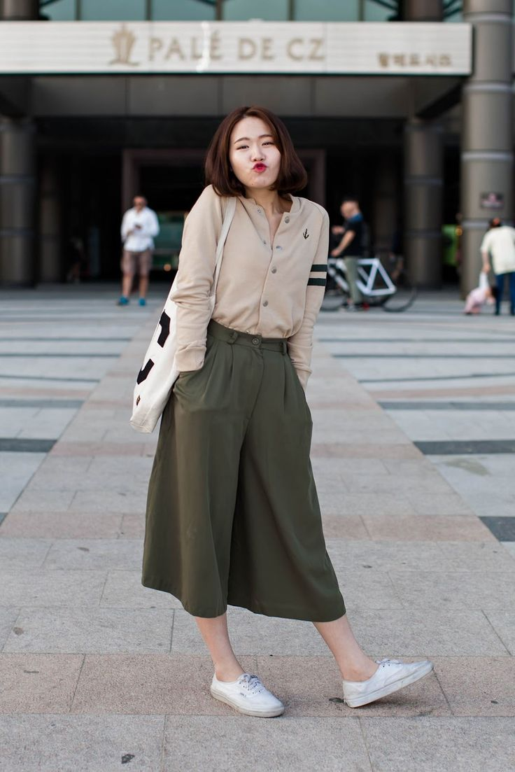 Dark olive culottes! White vans! Cream blouse! My combination!