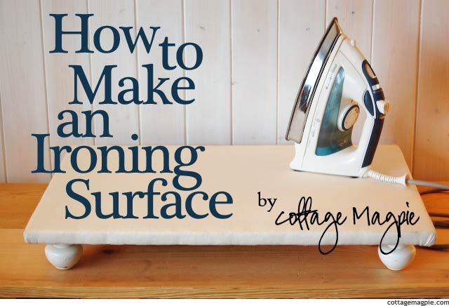 I have no ironing board.  Yes, I'm ashamed to admit it.  All of my sewing ironing is done on a cutting board on the floor.  Yes, I think it's time to change that!  This looks like an amazingly easy way of making a portable ironing surface for all of my many sewing projects!