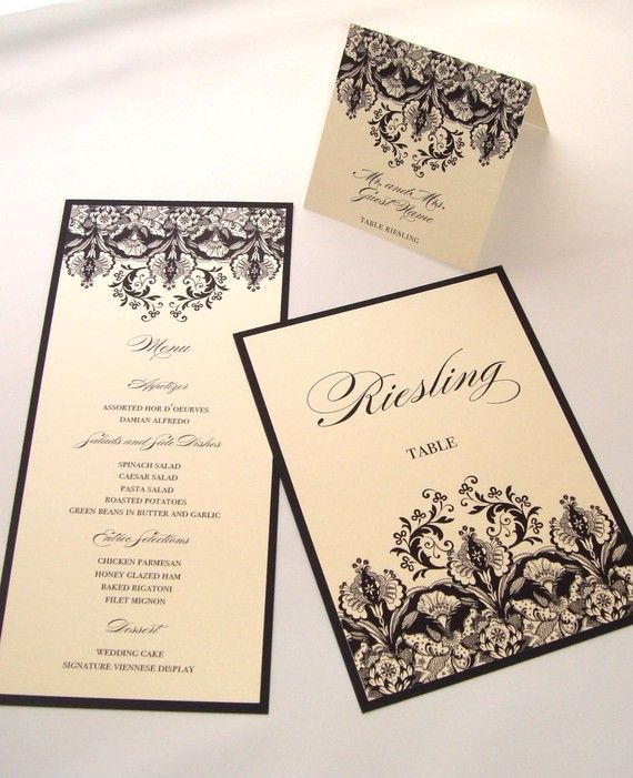 Christina Floral Damask Invitation Sample - Black Ivory Cream Champagne metallic. $5.00, via Etsy.
