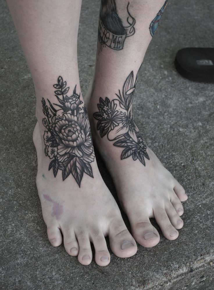 Flower tattoo on ankle/foot