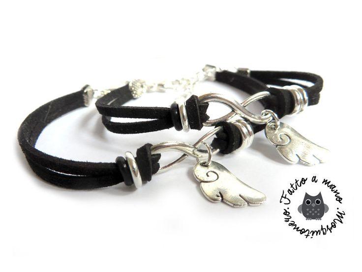 Bracciale coppia UOMO DONNA ali angelo silver braccialetto amore angioletto, by «:::Mosquitonero Shop:::», 18,90 € su misshobby.com