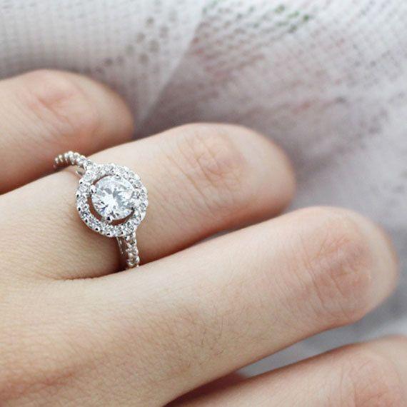 Brilliant CZ Halo Women's Wedding Ring 18k by TrendyCZJewelry