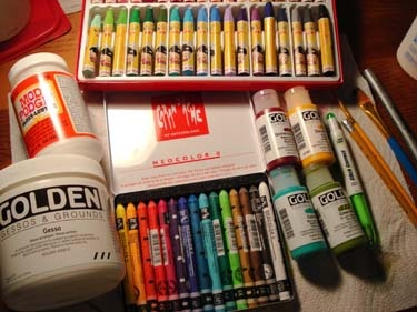 some great art journaling supplies are: moleskine journals, golden paints, watersoluble crayons, sharpie pens, oil pastels, white correction pens and white gesso.
