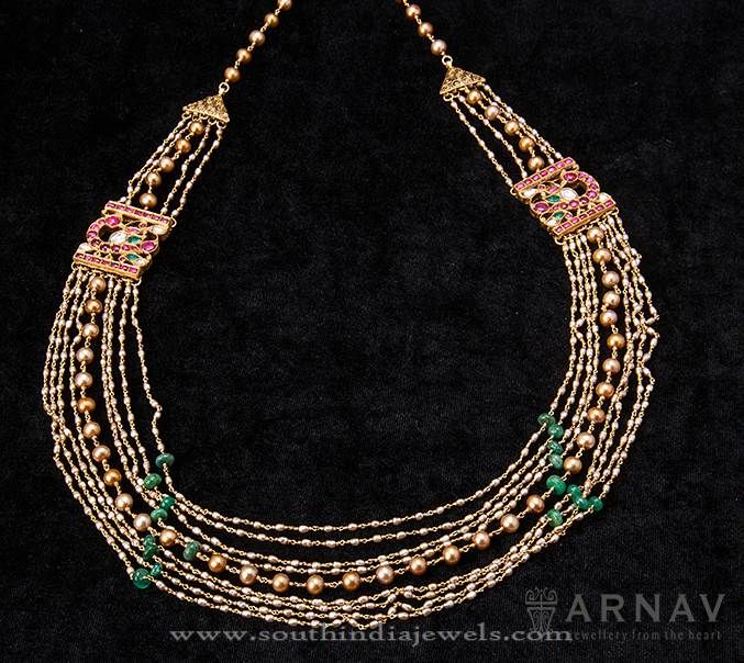 Indian Gold Necklace Designs, Indian Gold Designer Necklace Designs, Gold Necklace with Beads.