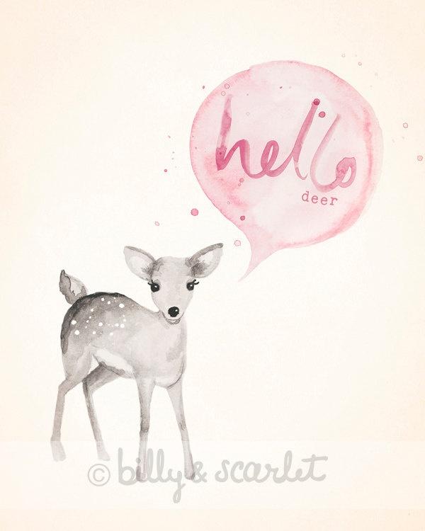 Baby Girl Nursery Print 8x10, Light Pink Shabby Chic Nursery Decor, 'Hello Deer' Watercolour Illustration