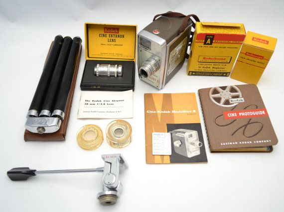 Buy Vintage Cine-Kodak Medallion 8mm Magazine Film Movie Camera Kit with Case, 13mm & 38mm Lens, D to S Ring Adapter, Skylight Filter, Film... by vintagecornerbazaar. Explore more products on http://vintagecornerbazaar.etsy.com