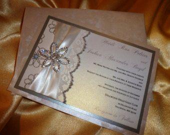"""Invitación de la boda, invitación de boda Ivory (muestra) - de encaje """"Diamond Flower"""""""