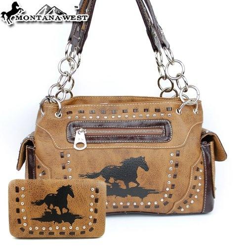 Montana West Cow Girl Horse Handbag in Brown Western Shoulder Purse with  Wallet « Clothing Impulse  3e6f85fd6edc5