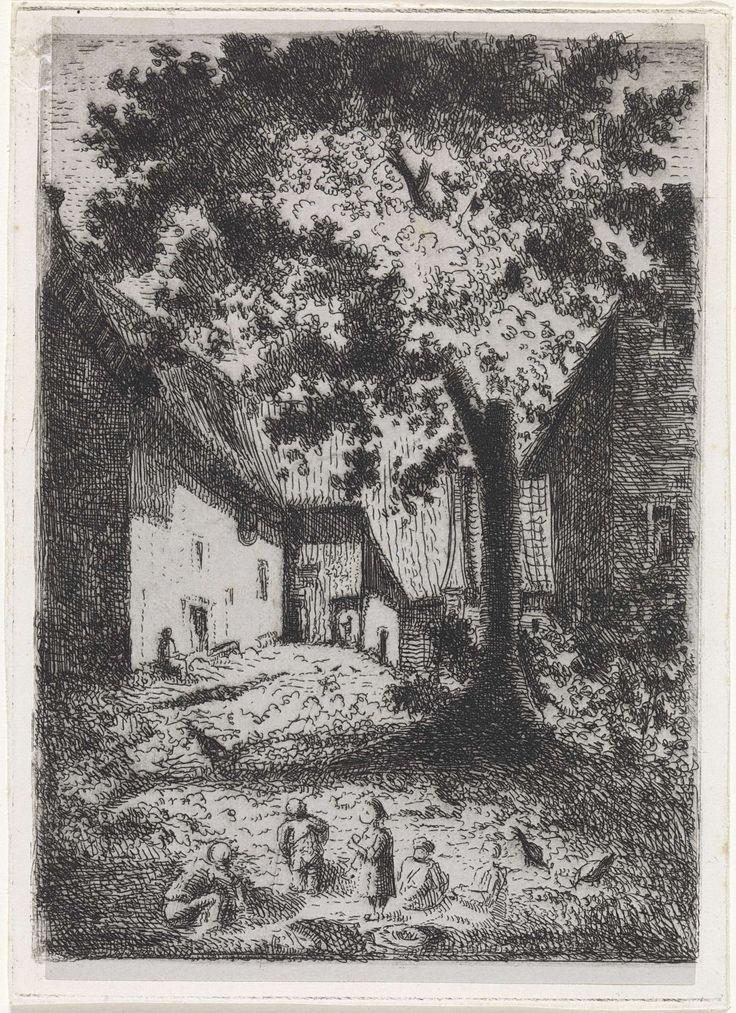 Arnoud Schaepkens | Spelende kinderen nabij dorpshuizen, Arnoud Schaepkens, 1831 - 1904 |