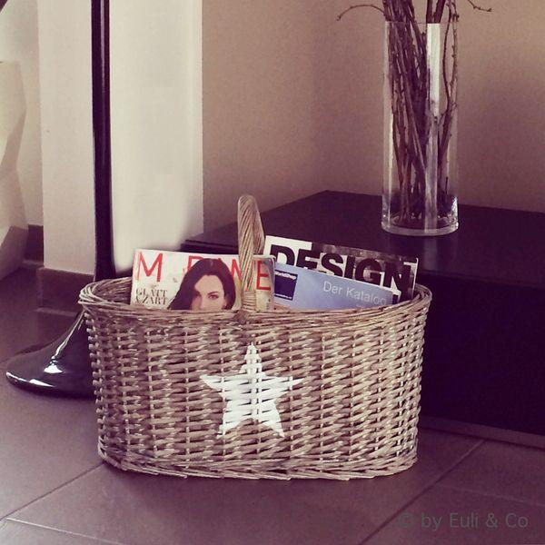 Korb ★ Weidenkorb ★ Shabby Chic ★ mit Stern ★ von Euli & Co auf DaWanda.com