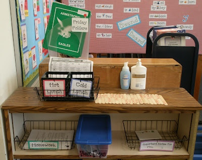 """""""Stop it and drop it"""" station for arriving in the morning. It has the folder tub, lunch count, homework basket, notes for teacher basket, a basket for library books, and Box Tops box. Blog has wonderful classroom organization ideas, too!"""