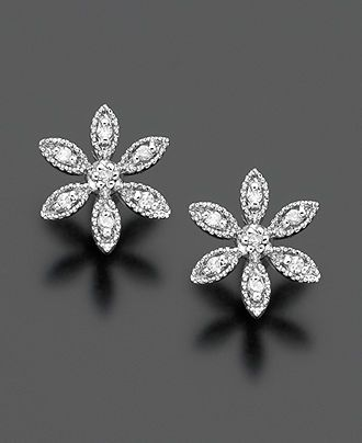 14k White Gold Earrings, Diamond Accent Flower Stud - Earrings - Jewelry & Watches - Macy's