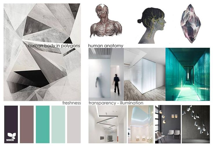 MEDX3 Medical offices (moodboard): Three medical offices with shared waiting room were designed in the central Square of Acharnes (pathological, neurological and cardiological). The main concept was the geometrical approach and structural simplification of human body, through means of transparency and a palette of colors of freshness and hygiene. Design Team: Vaggelis Margiolakis , Petroula Sepeta ( Petroula Sepe) 3d visualization: LOOM design – Terpsichori Latsi